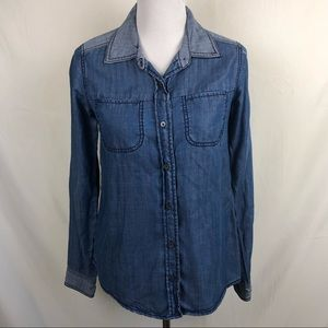 Michael Stars button up lyocell denim blouse XS